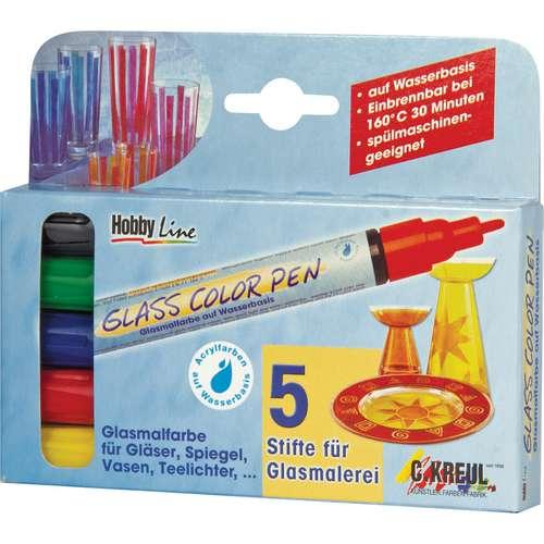 HOBBY LINE Glass Color Pen glasverfstiften set